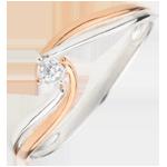 Geschenke Frau Solitär Ring das Kostbarer Kokon - Teuerste - Rosé- und Weißgold - 0. 03 Karat - 9 Karat