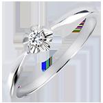 Solitär Ring Frische - Goldknospe - 18 Karat Weißgold und Diamant