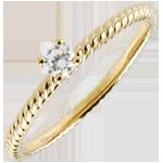 Solitär Ring Goldenes Seil - Gelbgold