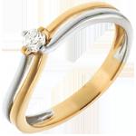 Geschenk Frauen Solitär Ring im Zweiergespann