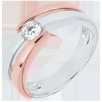 Verkauf Solitär Ring Kostbarer Kokon - Inch' Allah - rosa Gold und Weißgold - 0. 25 Karat - 18 Karat