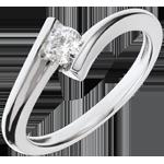 Geschenk Frau Solitär Ring Kostbarer Kokon - Mondfinsternis - Weißgold - 18 Karat