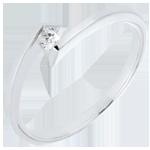 Solitär Ring Kostbarer Kokon - Sterntaler - Weißgold - Diamant 0.08 Karat - 18 Karat