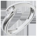 Geschenke Solitär- Ring Kostbarer Kokon - Undine - Weißgold -1 Diamant 0.07 Karat - 18 Karat