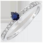 Geschenke Frau Solitär Verlobungsring Polarlicht - 0.12 Karat Saphir und Diamanten - 18 Karat Weißgold