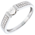 ventas Solitario arco empedrado oro blanco - 0.38 quilates - 29 diamantes