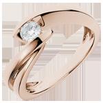 Solitario Brillo Eterno - Ondina- oro rosa - diamante 0.29quilates - 18 quilates
