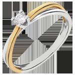 Solitario Duetto - Oro giallo e Oro bianco - 18 carati - Diamante