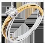 Solitario Duetto - Oro giallo e Oro bianco - 18 carati - Diamante - 0.16 carati