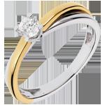 Solitario Duetto - Oro giallo e Oro bianco - 18 carati - Diamante - 0.23 carati