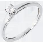 Solitario l'Essenziale - Oro bianco - 18 carati - Diamante - 0.13 carati