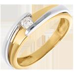 comprare on-line Solitario Nido Prezioso - Bipolare - Oro giallo e Oro bianco - 18 carati - Diamante