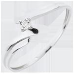 comprare on-line Solitario Nido Prezioso - Cigno - Oro bianco - 18 carati - Diamante