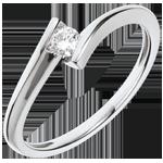 Solitario Nido Prezioso - Eclissi lunare - Oro bianco - 18 carati - Diamante