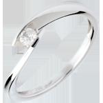 Solitario Nido Prezioso - Insenatura- Oro bianco - 18 carati - Diamante