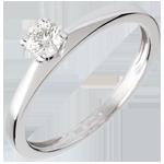 gioiello oro Solitario Poema - Oro bianco -18 carati - Diamante - 0.26 carati