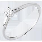 oreficeria Solitario Ramoscello - Oro bianco - 18 carati - Diamante - 0.13 carati