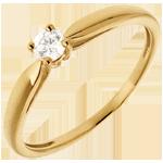 Solitario Ramoscello - Oro giallo - 18 carati - Diamante - 0.13 carati