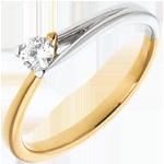 regalo donne Solitario Spilla - Oro giallo e Oro bianco - 18 carati - Diamante - 0.15 carati
