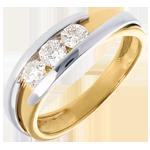 Goldschmuck Solitärring Kostbarer Kokon - Anziehungskraft - Weiß-und Gelbgold - 3 Diamanten 0.53 Karat - 18 Karat