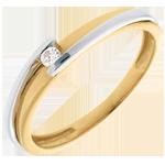 Hochzeit Solitärring Kostbarer Kokon - Anziehungskraft - Weiß-und Gelbgold - Diamant 0.04 Karat - 18 Karat