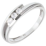 Geschenk Frauen Solitärring Kostbarer Kokon - Anziehungskraft - Weißgold - 3 Diamanten 0.16 Karat - 18 Karat