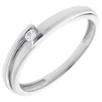 Solitärring Kostbarer Kokon - Anziehungskraft - Weißgold -Diamant 0.04 Karat - 18 Karat