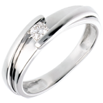 Goldschmuck Solitärring Kostbarer Kokon - Anziehungskraft - Weißgold - Diamant 0.13 Karat - 18 Karat