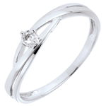 Solitärring Kostbarer Kokon - Dova - Weißgold - Diamant 0.03 Karat - 18 Karat