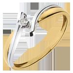 Solitärring Kostbarer Kokon - Jupiter - Weiß-und Gelbgold - Diamant 0.05 Karat - 18 Karat