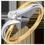 Geschenk Frauen Solitärring Kostbarer Kokon - Neckerei -Weiß-und Gelbgold - Diamant 0.08 Karat - 18 Karat