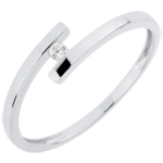 Verkäufe Solitärring Kostbarer Kokon - Pure Liebe - Weißgold - Diamant 0.03 Karat - 18 Karat