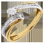 Geschenk Frau Solitärring Kostbarer Kokon - Sonnensystem -Weiß-und Gelbgold - Diamant 0.08 - 18 Karat