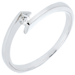 Solitärring Kostbarer Kokon - Sterntaler -Weißgold - Diamant 0.08 Karat - 9 Karat