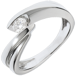Solitärring Kostbarer Kokon - Undine - Weißgold - 1 Diamant 0.205 Karat - 18 Karat