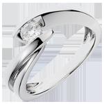 Goldschmuck Solitärring Kostbarer Kokon - Undine - Weißgold - Diamant 0.285 Karat - 18 Karat