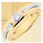 Geschenk Frau Solitärring Versprechen - Gelbgold und Diamanten