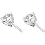 Stud Earrings white gold-3 prong diamond - 1 carat