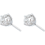 women Stud Earrings white gold-4 prong diamond - 1 carat