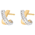 gold jewelry Tandem half-moon earrings yellow and white gold - 16 diamonds
