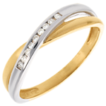 gift Tandem ring mounted diamonds - 9 diamonds
