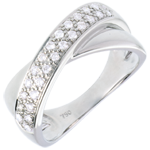jewelry Tandem ring white gold semi-paved - 0.26 carat - 26diamonds - 0.26 carat - 26 diamonds