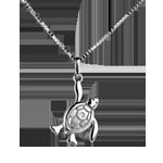 Tartarughina - grande - Oro bianco - 9 carati - Diamante