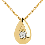 wedding Teardrop necklace yellow gold with diamond