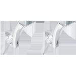 أقراط العش الثمين ـ أپوستروف (TGM) - ذهب أبيض عيار 18 قيراط ـ 0.31 قيراط