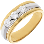 weddings The Eclipse - Three stone Trilogy - yellow gold-white gold - 0.44 carat - 3diamonds