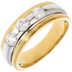 gifts woman The Eclipse - Three stone Trilogy - yellow gold-white gold - 0.59 carat - 3diamonds