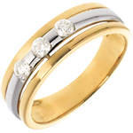 The Eclipse - Three stone Trilogy - yellow gold-white gold - 0.24 carat - 3diamonds