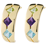 Topaz, Amethyst, Peridot, Fantasy, Earrings