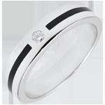 Geschenk Frau Trauring Dämmerschein - Federzug mit Diamant - Kleines Modell - Gold und schwarzer Lack - 18 Karat